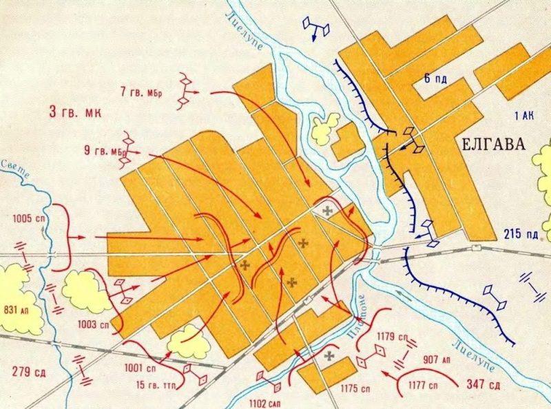 Карта-схема освобождения Елгавы частями 7-й и 9-й гвардейских механизированных бригад, 279-й и 347-й стрелковых дивизий. 31 июля 1944 г.
