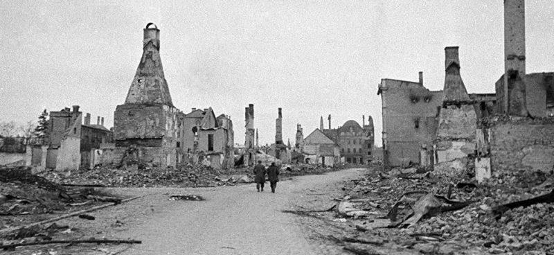 Разрушения в Елгаве.