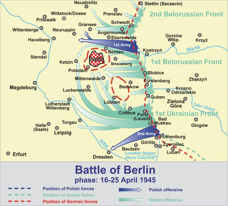 Карта-схема штурма Берлина.