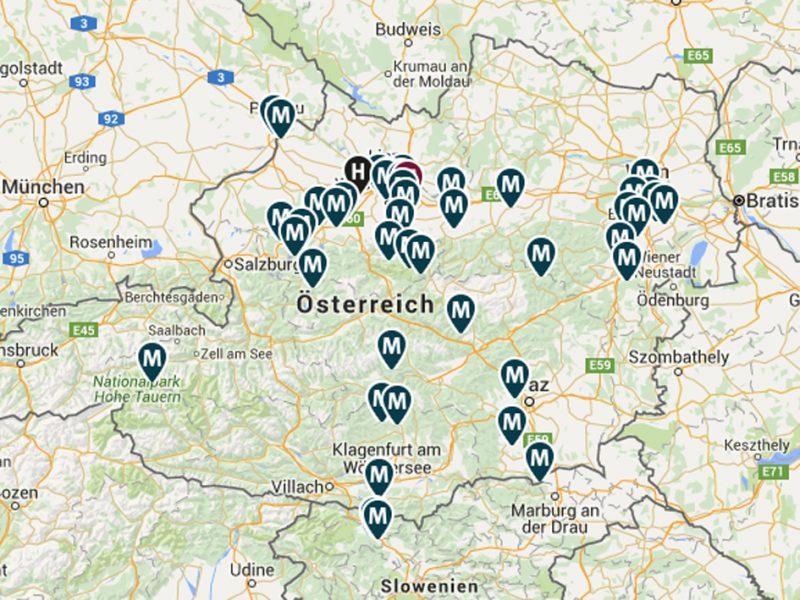 Основные внешние лагеря Маутхаузена на современной карте.