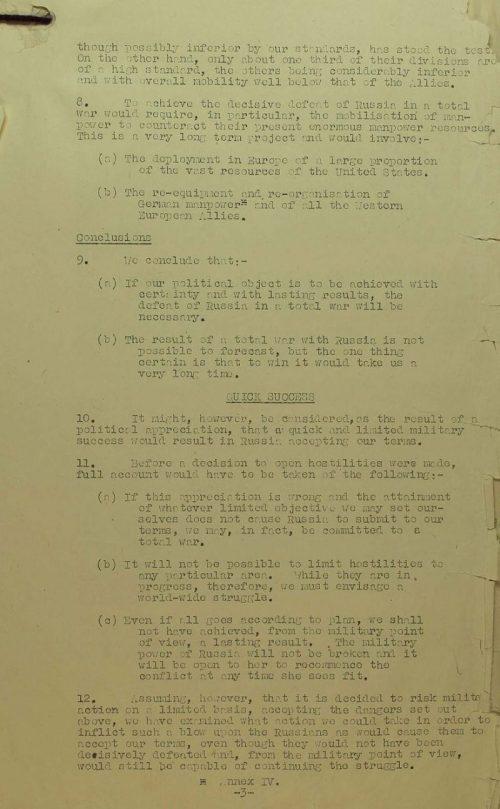 Страницы доклада Объединённого штаба планирования Военного кабинета по операции «Немыслимое» от 22 мая 1945 г. Досье CAB 120/691. Россия: угроза западной цивилизации.