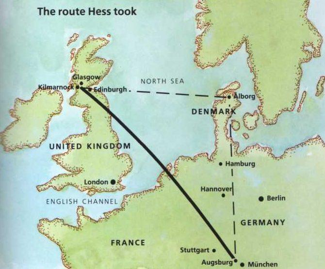 Официальный и возможно реальный маршруты перелета Гесса 10 мая 1941 г.