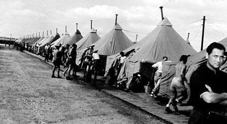 Палаточный лагерь для временных военнопленных в Хантсвилле, штат Техас.1943 г.