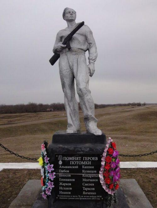 с. Грушовское Александровского р-на. Памятник на месте расстрела советских разведчиков в 1943 г.