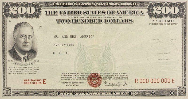 В память о Рузвельте специальная облигация серии E на 200 долларов была выпущена в начале 8-го военного займа, получившего название «Заем победы» (29 октября 1945 г.).
