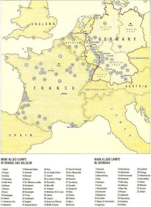Схема расположения некоторых лагерей военнопленных в Бельгии, Германии и Франции.