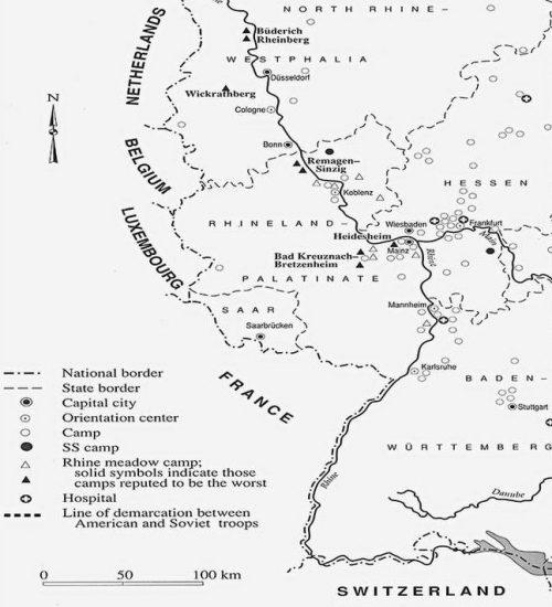 Карта размещения лагерей военнопленных в Германии.