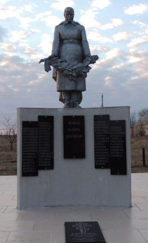 п. Родионов Новоалександровского р-на. Памятник советским воинам и могила младшего лейтенанта Гаркуша Ю.А., погибшего в 1942 году.