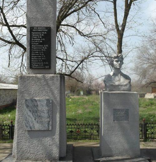 г. Нефтекумск. Братская могила советских воинов и памятник партизанке А.Шилиной.