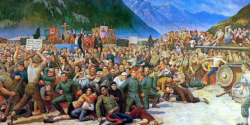 Картина С. Г. Королькова «Выдача казаков в Лиенце». Музей Кубанского Казачьего войска, штат Нью-Джерси, США.