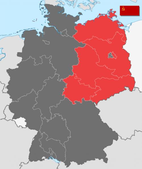 Место дислокации частей Группы войск в Советской зоне оккупации Германии.