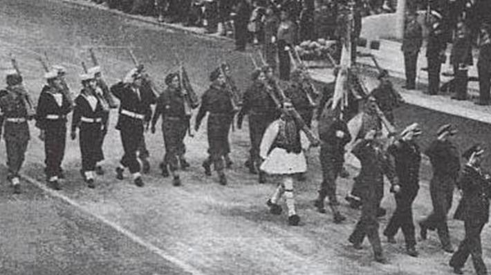 Представители греческих вооруженных сил на Параде.