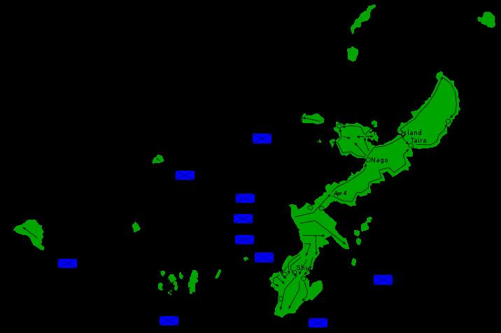 Карта высадки американских войск на Окинаве.