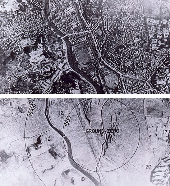 Нагасаки до и после атомного взрыва.