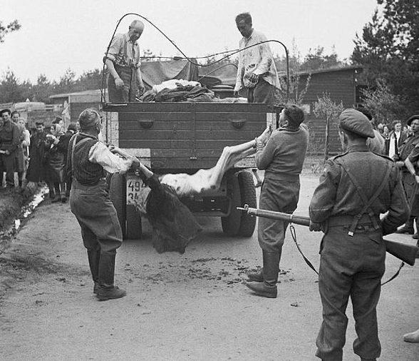 Погрузка тел узников, бывшими охранниками лагеря для захоронения.