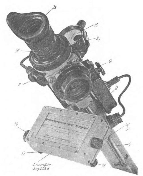 Рисунок оптического прицела ОПБ-1 со счетной коробкой.