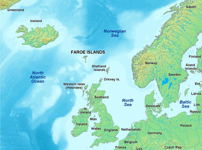 Положение Фарерских островов в Северной Атлантике.
