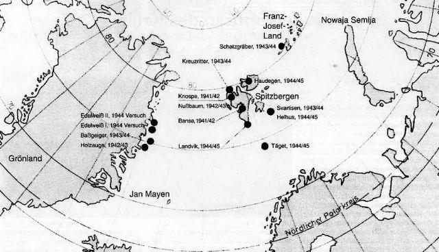 Схема расположения немецких метеостанций в Арктике.