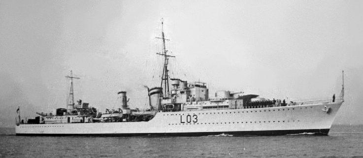 Британский эсминец HMS Cossack.