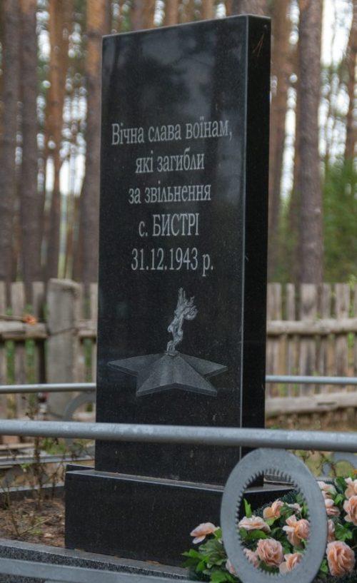 с. Быстрые Житомирского р-на. Братская могила 11 советских воинов, погибших при освобождении села.