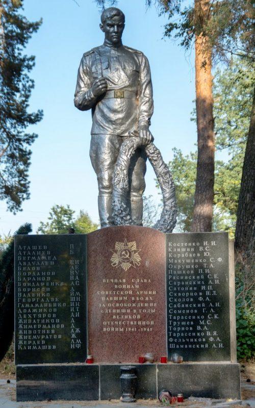 с. Деныши Житомирского р-на. Памятник, установленный на братской могиле, в которой похоронено 39 советских воинов.
