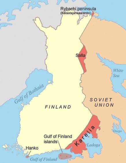 Территории, с которых выселялись финны.