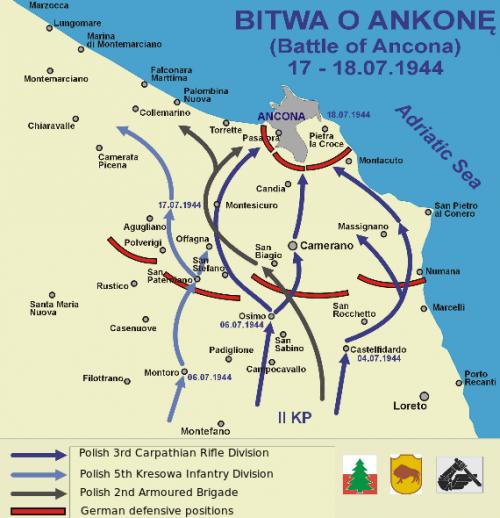 Карта боевых действий у Анкона.