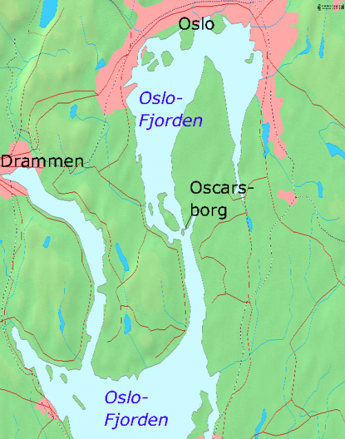 Карта Осло-фьорда с Оскарсборгом.