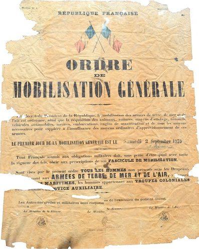 Плакат с приказом о всеобщей мобилизации Франции от 2 сентября 1939 г.
