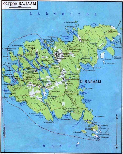Карта острова Валаам.
