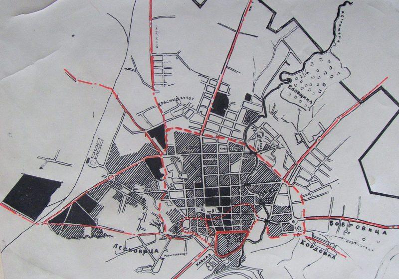 Схема зоны разрушений Чернигова в результате авиабомбардировок 23-25 августа 1941 г.