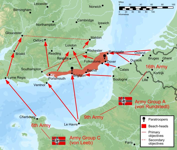 Первоначальный план вторжения Германии в Англию.