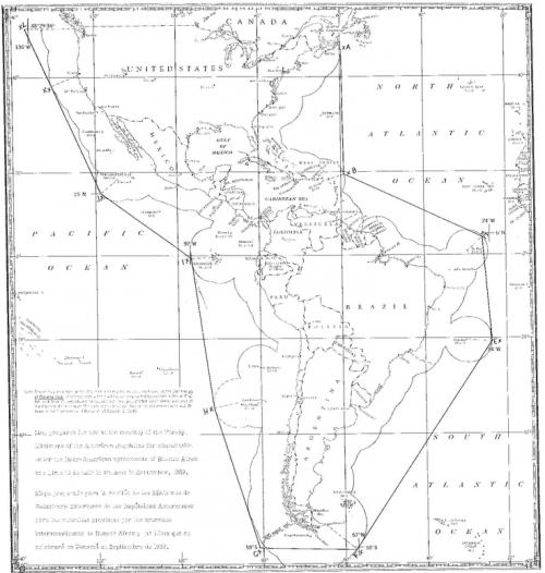 Карта морской зоны безопасности, созданная Панамской декларацией в октябре 1939 года, на основе прямых линий между точками на расстоянии около 300 морских миль от берега.