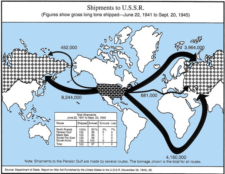 Карта поставок США по ленд-лизу на СССР.