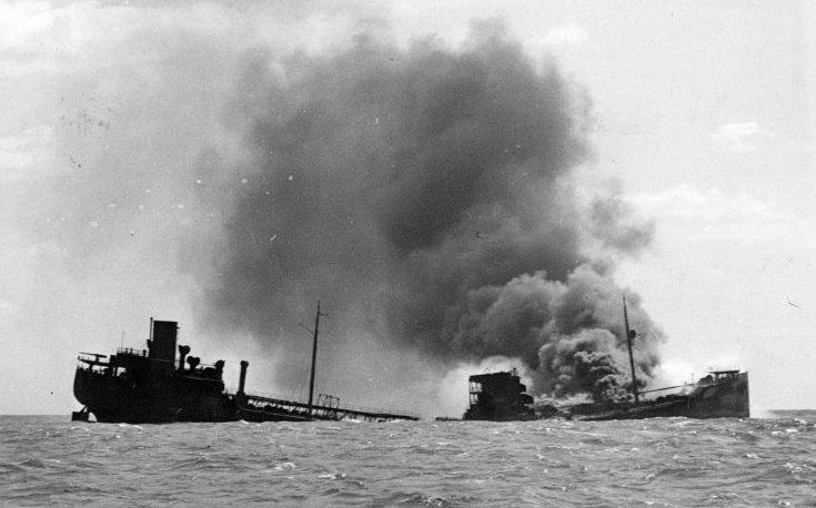 Торговые суда, потопленные немецкими подлодками.