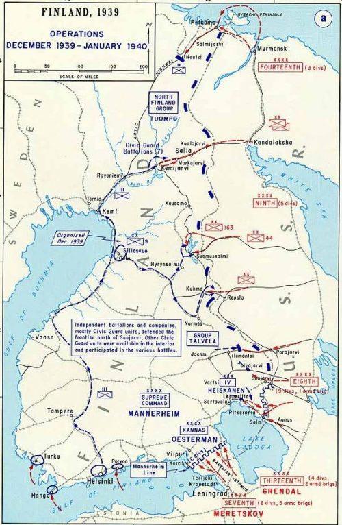 Карта-схема военных действий в декабре 1939 январе 1940 года.