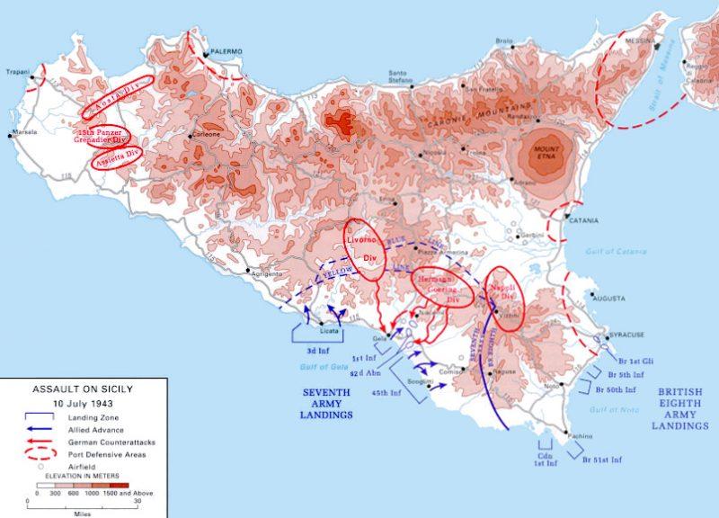 Районы высадки десантов на Сицилию.