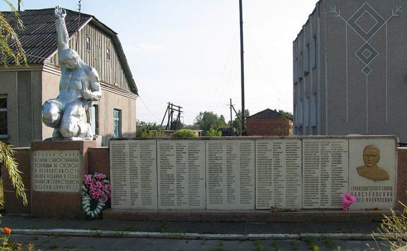 с. Бовсуны Лугинского р-на. Памятник воинам-односельчанам.