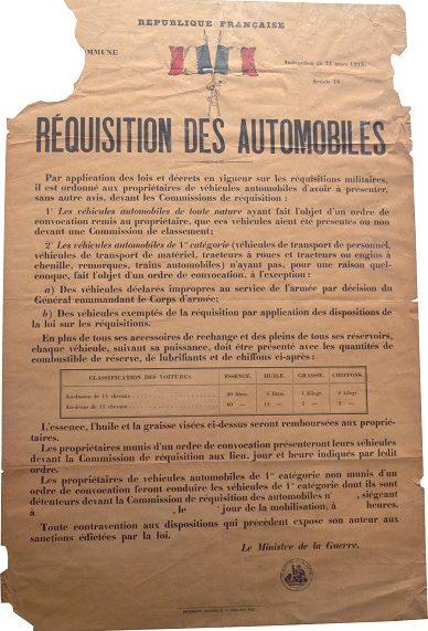 Плакат, уведомляющий население о том, что все частные автомобили подлежат реквизиции военными.