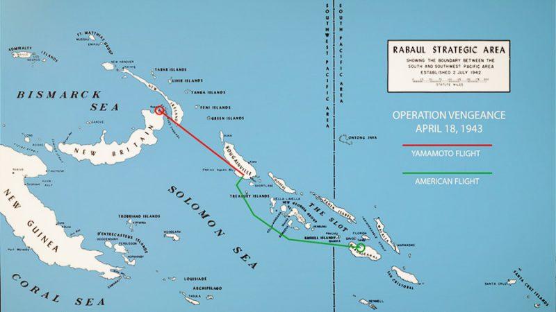 Схема движения американцев (зеленая) и японцев (красная) 18 апреля 1943 года.