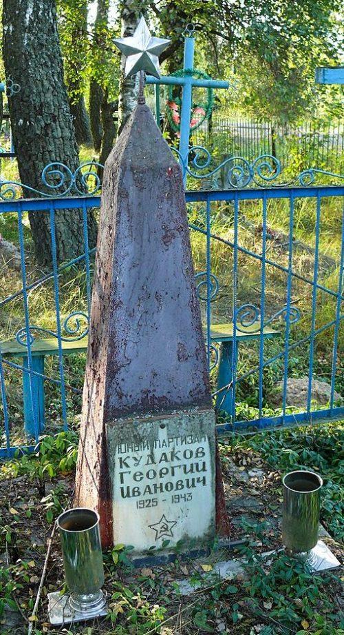с. Соловьи Лугинского р-на. Памятник Г. И. Кудакову - советскому партизану.