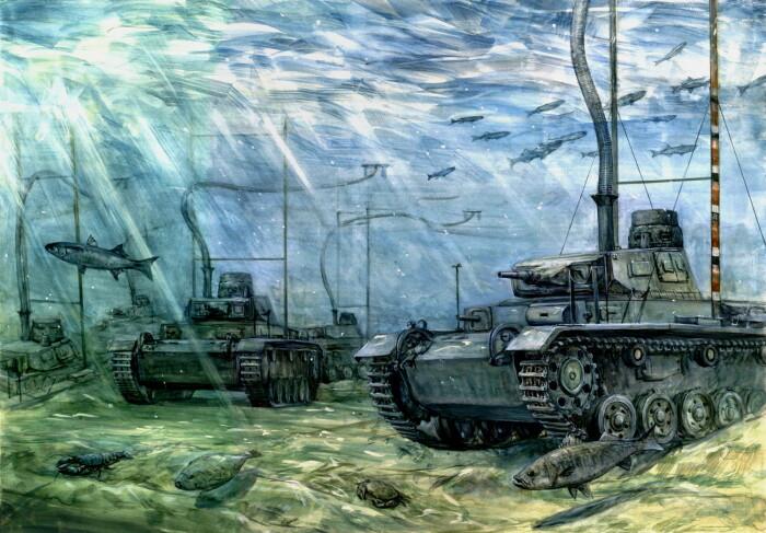 Подводный танк Tauchpanzer III» глазами художника.