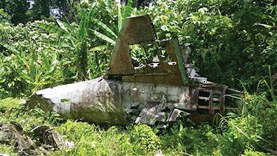 Обломки самолета адмирала Ямамото сегодня в джунглях.