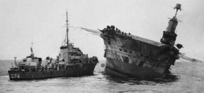 Затонувший авианосец «Ark Royal». Ноябрь 1941 г.
