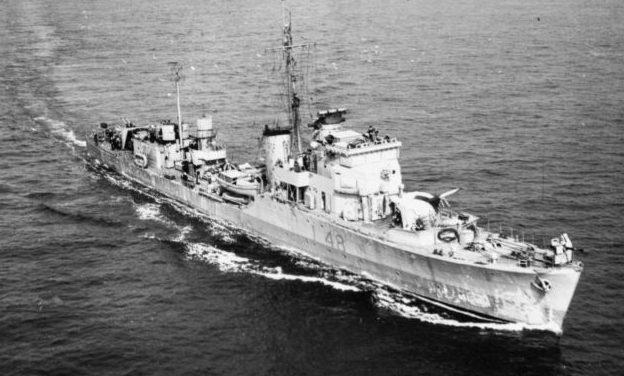 Эсминец «Холдернесс», сопровождает конвой в Северной Атлантике. 1941 г.