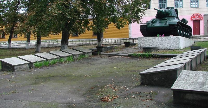 с. Чоповичи Малинского р-на. Братское воинское захоронение, где похоронено 220 советских воинов, среди которых похоронены П. Ф. Захарченко и В. С. Вайсер - Герои Советского Союза.