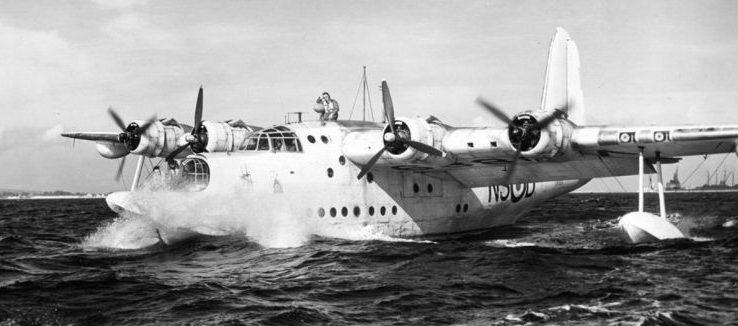 Самолет-амфибия Шорт «Сандерленд» - морская разведывательно-бомбардировочная летающая лодка. 1942 г.