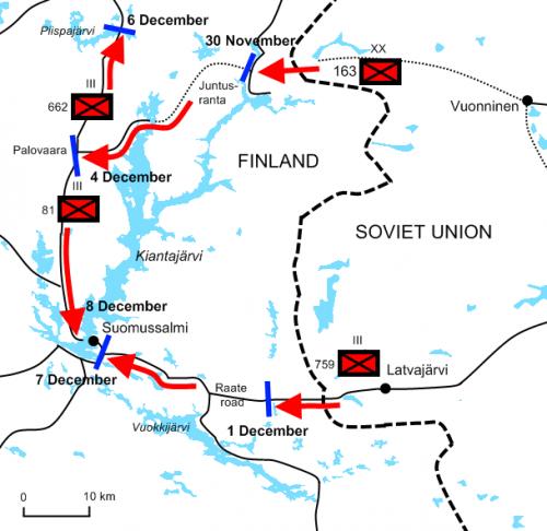 Схема сражения при Суомуссалми с 30 ноября по 8 декабря 1939 г.
