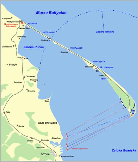 Карта-схема обороны Хельской косы.