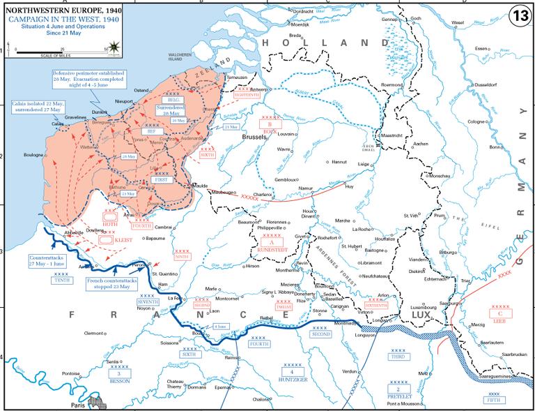 Германское продвижение к Ла-Маншу после 21 мая 1940 года.